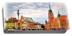 Portable Battery Charger featuring the painting Castle Square, Warsaw by Maciek Froncisz
