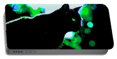 Cat Bathed In Green Light Portable Battery Charger by Gina O'Brien