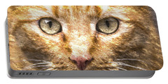 Cat Closeup Oil Painting Portable Battery Charger