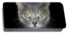 Cat Head On Black Background Portable Battery Charger