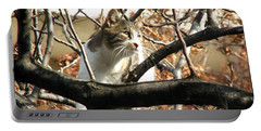 Cat Hunting Bird Portable Battery Charger by Judi Saunders