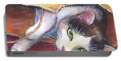 Cat In A Bag Painting Portable Battery Charger