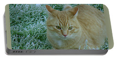 Cat In Frosty Grass Portable Battery Charger