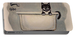 Cat In The Bathtub Portable Battery Charger