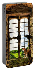 Cat In The Castle Window Portable Battery Charger