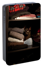 Portable Battery Charger featuring the photograph Cat In The Closet by Laura Melis
