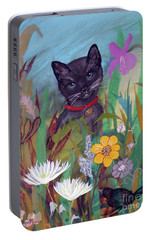 Portable Battery Charger featuring the painting Cat In The Garden By Robin Maria Pedrero by Robin Maria Pedrero