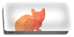 Watercolor Orange Cat Silhouette Portable Battery Charger