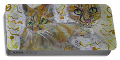 Portable Battery Charger featuring the painting Cat Named Phoenicia by AJ Brown