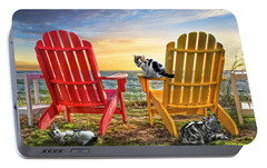 Portable Battery Charger featuring the photograph Cat Nap At The Beach by Debra and Dave Vanderlaan
