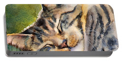 Portable Battery Charger featuring the painting Cat Nap by Bonnie Rinier