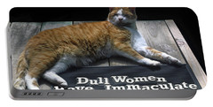 Cat On Dull Women Mat Portable Battery Charger by Sally Weigand