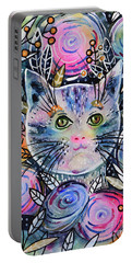 Portable Battery Charger featuring the painting Cat On Flower Bed by Zaira Dzhaubaeva
