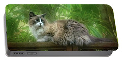 Cat On The Railing Portable Battery Charger