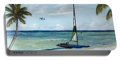 Catamaran On The Beach Portable Battery Charger by Lloyd Dobson