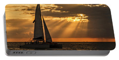 Portable Battery Charger featuring the photograph Catamaran Sunset Cruise In Key West by Bob Slitzan