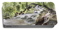 Catawba Falls - A Watercolor Sketch Portable Battery Charger