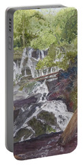 Portable Battery Charger featuring the painting Catawba Falls - Working Notes by Joel Deutsch