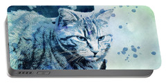 Portable Battery Charger featuring the digital art Catbird Seat by Jutta Maria Pusl