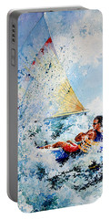 Portable Battery Charger featuring the painting Catch The Wind by Hanne Lore Koehler
