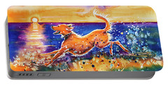 Portable Battery Charger featuring the painting Catching The Sun by Zaira Dzhaubaeva