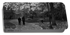 Cathedral Park In Fall Bw Portable Battery Charger