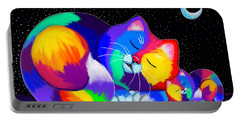 Portable Battery Charger featuring the drawing Catnaps For Two by Nick Gustafson