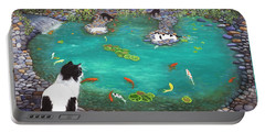 Portable Battery Charger featuring the painting Cats And Koi by Karen Zuk Rosenblatt