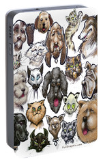 Portable Battery Charger featuring the digital art Cats N Dogs by Kevin Middleton
