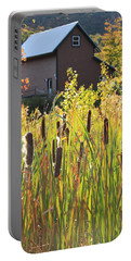 Cattails And Barn Portable Battery Charger by Roupen  Baker