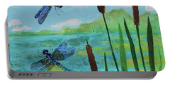 Cattails And Dragonflies Portable Battery Charger