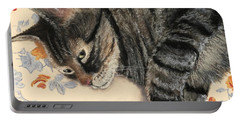 Portable Battery Charger featuring the painting Cattitude by Anastasiya Malakhova