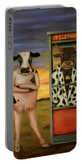 Cattle Call Portable Battery Charger by Leah Saulnier The Painting Maniac