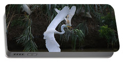 Cattle Egret Harassing An Adult Egret - Digitalart Portable Battery Charger