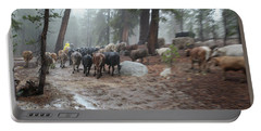 Cattle Moving Portable Battery Charger by Diane Bohna