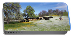 Cattle N Flowers Portable Battery Charger by Diane Bohna