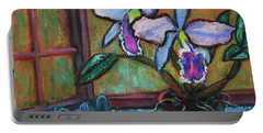 Portable Battery Charger featuring the painting Cattleya Orchid And Frog By The Window by Xueling Zou