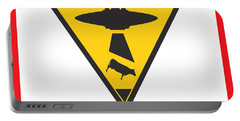 Caution Ufos Portable Battery Charger by Pixel Chimp