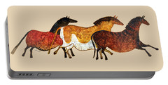 Cave Horses In Beige Portable Battery Charger