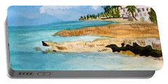 Portable Battery Charger featuring the painting Cayman Shoreline by Donna Walsh