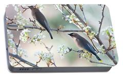 Cedar Wax Wing Pair Portable Battery Charger by Jim Fillpot