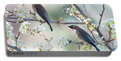 Cedar Wax Wing Pair Portable Battery Charger by Jim Fillpot