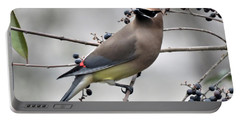 Cedar Waxwing 1 Portable Battery Charger by Kathy Long