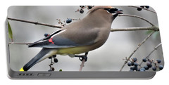 Cedar Waxwing 2 Portable Battery Charger by Kathy Long