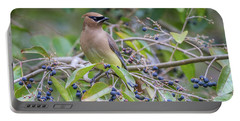 Cedar Waxwing And Berries Portable Battery Charger