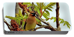 Cedar Waxwing Having A Snack  Portable Battery Charger