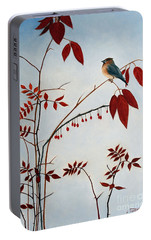 Cedar Waxwing Portable Battery Charger by Laura Tasheiko
