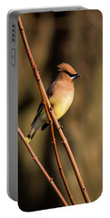 Cedar Waxwing On Branch Portable Battery Charger