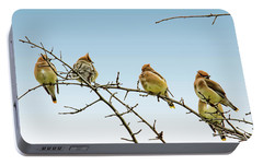 Cedar Waxwings Portable Battery Charger by Geraldine Scull