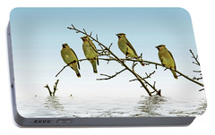 Cedar Waxwings On A Branch Portable Battery Charger by Geraldine Scull